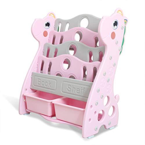 ZZLYY Children Kids Toy Storage Organizer with 2 Plastic Bins Toy Boxes and Storage Toy Storage Organizer with Bins Toy Organizers and Storage Toy Storage Organizer Pink