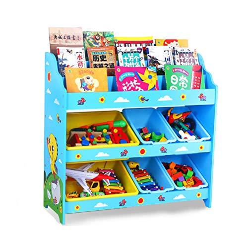 ZZLYY Kids Book Rack 6 Storage Boxes and Toys Organizer Shelves Toy Storage Organizer with Bins Toy Organizers and Storage Kids Toy Storage Toy Box Toy Organizer D