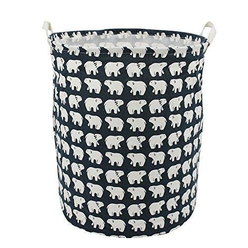 197 Large Laundry Hamper Bucket Waterproof Coating Cotton Laundry Basket Collapsible Washing Basket Cute Canvas Storage Basket Bin Home Nursery Toy Organizer Polar Bear