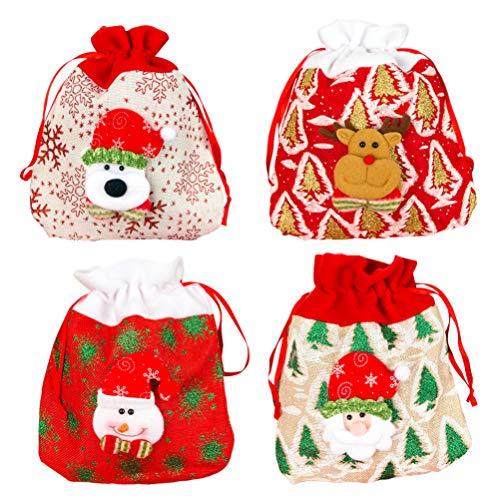 Amosfun 4pcs Christmas Gift Bags Christmas Drawstring Bags Candy Pouch Santa Reindeer Snowman Bear Storage Bags Christmas Supplies
