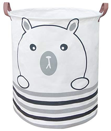 BOOHIT Storage BasketsCanvas Fabric Laundry Hamper-Collapsible Storage Bin with HandlesToy Organizer Bin for Kids RoomOfficeNursery Hamper Home Decor Bear