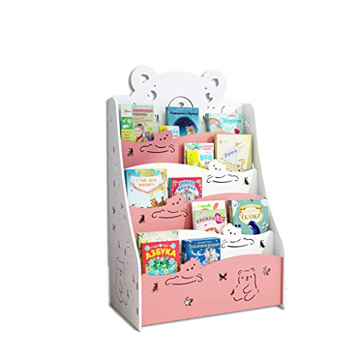 CQ Creative Cute Bookshelf Childrens Bookshelf Floor Simple Student Baby Bookcase Kindergarten Childrens Picture Book Pink Bear Storage Rack