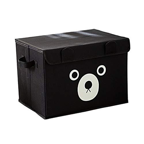 DNSJB Foldable Oxford Cartoon Cute Bear Storage Box for Clothes Underwear Bra Socks Kid Toys Organizer Home Storage Bins Color  Black