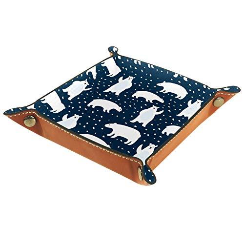Lyetny Cute Polar Bears Storage Box Key Tray Desk Storage Plate for Key Coin Change Jewelry Wallet205x205cm