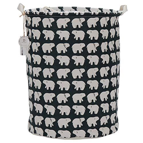 Sea Team 197 x 157 Large Sized Folding Cylindric Waterproof Coating Canvas Fabric Laundry Hamper Storage Basket with Drawstring Cover Polar Bear