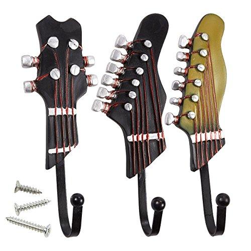 Set of 3 Decorative Wall Hooks - Iron Hooks Shabby Chic Guitar Shaped Hooks for Keys Hats Coats Scarfs Brown