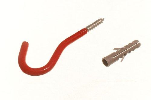 200 X Red Wall Hook Elephant Utility Tool Storage Hook With Rawl Plugs