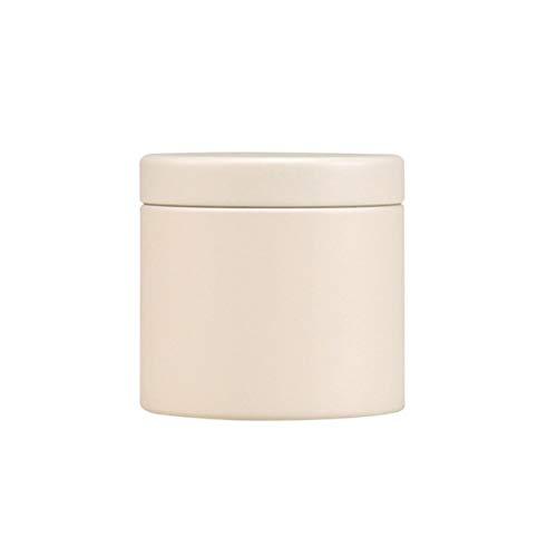 BESTONZON tin Box Portable Tinplate Tea Leaf Storage Container RoundCandies Organizer Beige