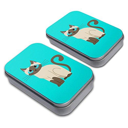 Cute Siamese Cat Decorative Craft Trinket Metal Tin Box Set of 2