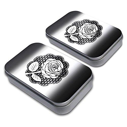 Elegant Rose Black Decorative Craft Trinket Metal Tin Box Set of 2