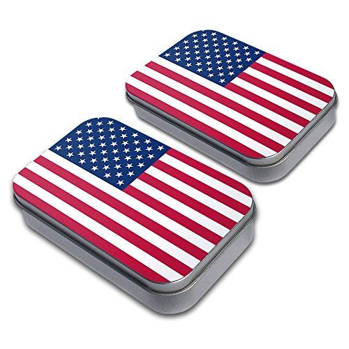 Flag of USA Decorative Craft Trinket Metal Tin Box Set of 2
