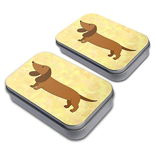 Little Dachshund Decorative Craft Trinket Metal Tin Box Set of 2