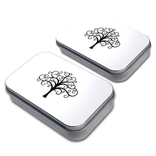 Tree of Life Decorative Craft Trinket Metal Tin Box Set of 2