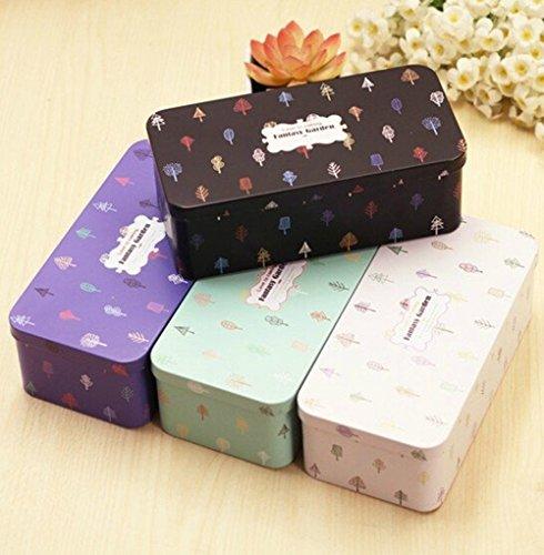 5pcs Fresh and Beautiful Serenade Double Bunk Stationery Tin Storage Box Desk Organizers Small Metal Box
