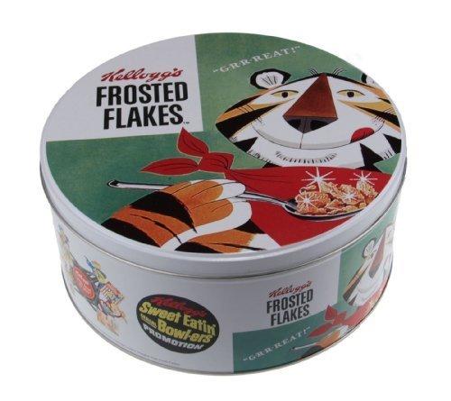 Retro Kellogs Frosted Cornflakes Round Kitchen Cake Biscuit Tin Storage Box Green by Ideal Textiles