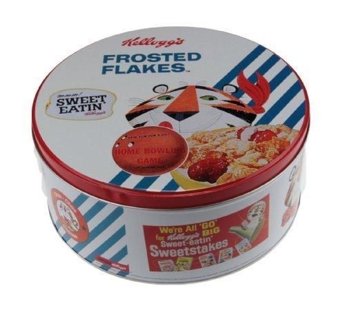 Retro Kellogs Frosted Cornflakes Round Kitchen Cake Biscuit Tin Storage Box White by Ideal Textiles