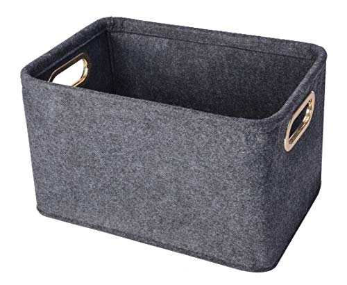 Minoisome Collapsible Storage Bins Foldable Felt Fabric Storage Basket Organizer Boxes Containers with Handles Metal Handles for Nursery ToysKids RoomClothesTowelsMagazine