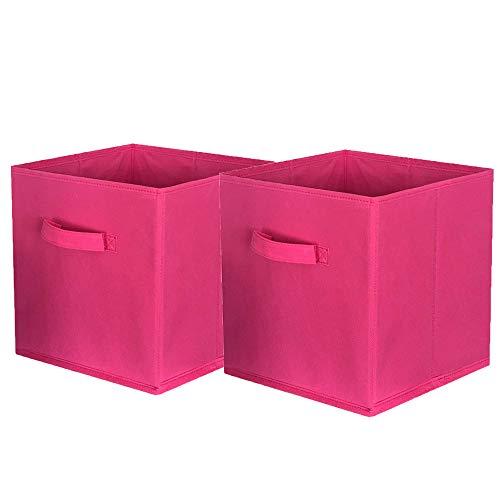 ShellKingdom Storage Bins Foldable Fabric Storage Cubes and Cloth Storage Organizer Drawer for Closet and Toys Storage2 Pack(Fuchsia)