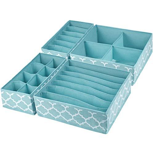homyfort 4 Pcs Dresser Drawer Organize Closet Organizer Drawer Dividers and Cloth Storage Bins Box for Underwear Bras Socks Clothing Blue