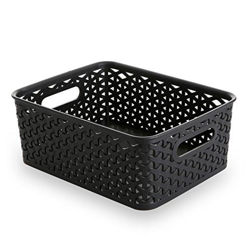 BINO T-Weave Woven Plastic Storage Basket Small Black