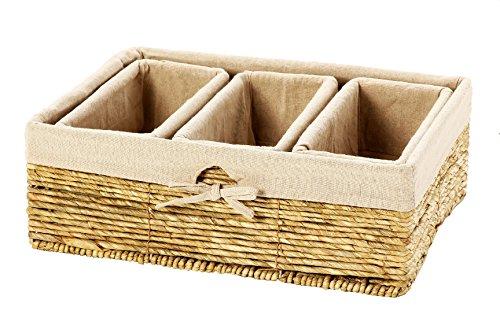 Set of 4 Storage Baskets – Nesting Storage Basket Set in 2 Sizes - Decorative Wicker Corn Rope Home Organizer Bins 1 Large Size Basket with 3 Smaller Storage Baskets
