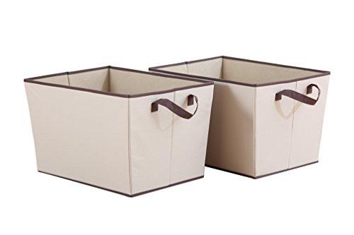 StorageManiac 2-Pack Durable Folding Polyester Canvas Rectangular Open Storage Bin with 2 Handles