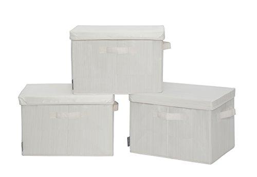 StorageManiac Canvas Storage Box with Lid Folding Basket Organizer Bin Bamboo Style 3-Pack Large