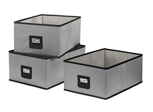 StorageManiac Pack of 3 Large Polyester Canvas Storage Bin Durable Open Storage Drawer Gray