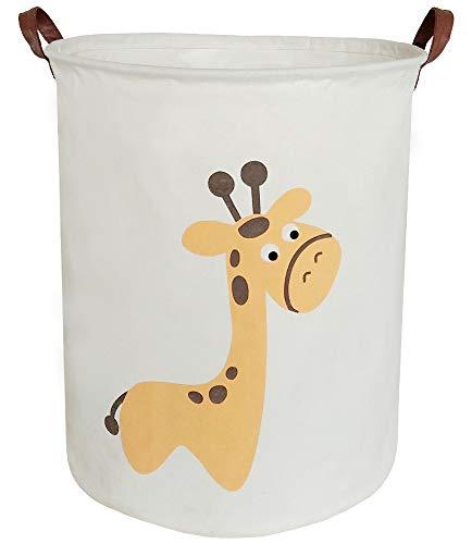 BOOHIT Storage BasketsCanvas Fabric Laundry Hamper-Collapsible Storage Bin with HandlesToy Organizer Bin for Kids RoomOfficeNursery Hamper Home Decor Giraffe
