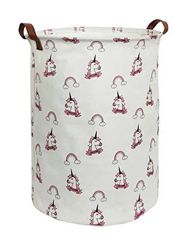 ESSME Large Storage BinCanvas Fabric Storage Baskets with HandlesCollaspible Laundry Hamper for HouseholdGift BasketsToy Organizer Rainbow Unicorn
