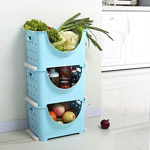 CLG-FLY Stacked Fruit Basket Multilayer Stacked Plastic Vegetable Storage Basket Shelf Kitchenware blue 36 27 225cm