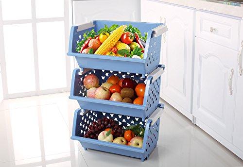 CLG-FLY kitchen plastic large load vegetables and fruits storage basket basket racks blue