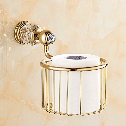 JinRou Unique design European-style full-brass crystal blue storage baskets paper towel basket  Golden