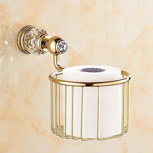 LINA European-style full-brass crystal blue storage baskets paper towel basket  Golden