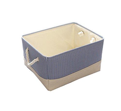 TheWarmHome Blue Canvas Basket Decorative Fabric Storage Bin for Toy Basket Clothes Storage Baby Basket Organizer 12×8×5 inch