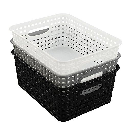 Eagrye Plastic Storage Basket Bin Organizer for Beauty Office Bathroom 3-Pack