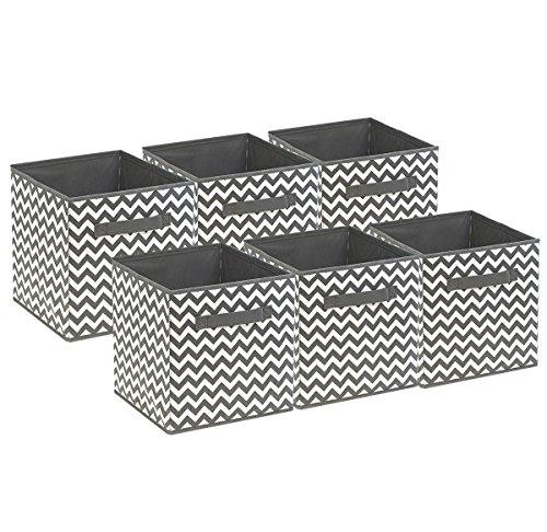 Sorbus Foldable Storage Cube Basket Bin 6 PackChevron Pattern Gray