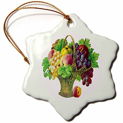 Ornaments to Paint Tall Basket of Fruits with Grapes Peaches Apples Grape Leaves - Snowflake Ornament Porcelain 3-Inch