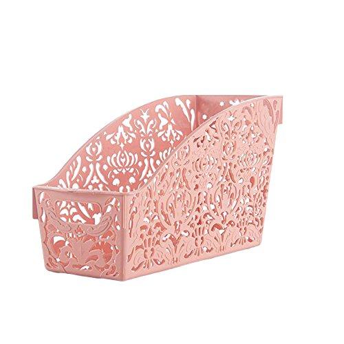 Auphi Plastic Hollow Desktop Organizer Holder Cosmetics Box Storage Basket Containerpink