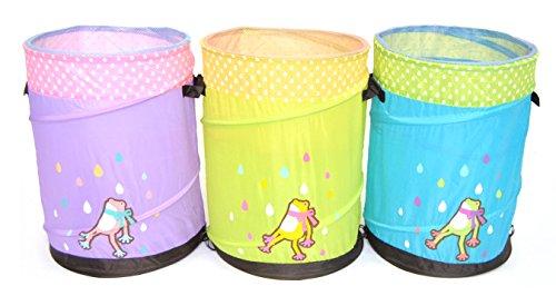 Set of 3 Pop-up Hamper Storage Bin  Basket  Container - Mr Organize Frog for Children Green Blue and Purple