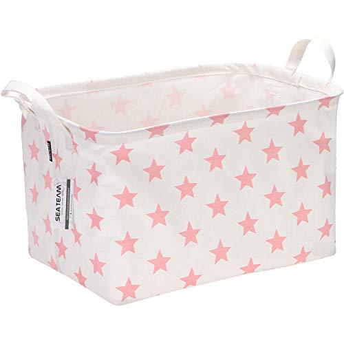 Sea Team Collapsible Rectangular Canvas Fabric Storage Bin Shelf Basket Organizer for Nursery Kids Room 165 x 11 x 98 inches Pink Star