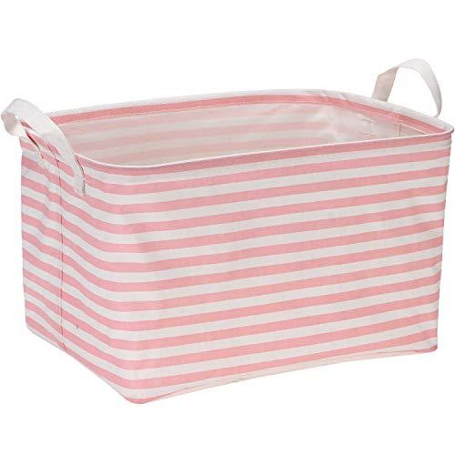 Sea Team Collapsible Rectangular Canvas Fabric Storage Bin Shelf Basket Organizer for Nursery Kids Room 165 x 11 x 98 inches Pink Stripe
