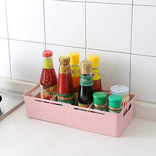 Yoillione Plastic Storage Baskets Open Storage Bins for KitchenBathroom Organizer Retractable and Stackable Pink
