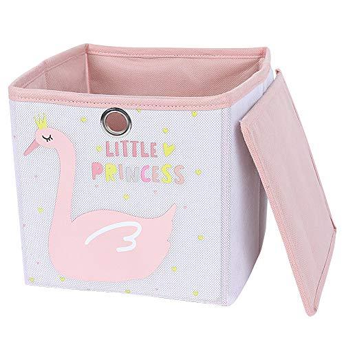paper jazz 1Pc Storage Bin Without Lid White Pink Storage Baskets Girl Room Decorative Children Home Storage Boxes Swan Pattern