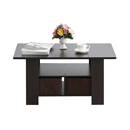 Furevol IPOH Coffee Table with Storage Shelf and Bin Mocha Espresso