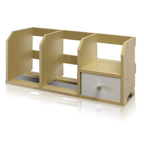 Furinno Pasir Desk Storage Shelf with Bin Steam BeechWhite