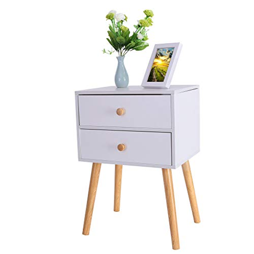 Modern Nightstand Side End Table for Living Room Industrial Bedside Table Night Stand with Storage Shelf Bin Drawer Sofa Side Table Coffee Table Wood Look Accent Furniture Organizer B