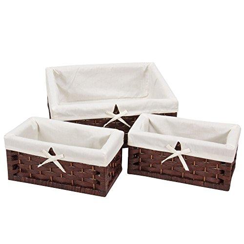 Household Essentials Set of 3 Paper Rope Storage Utility Baskets Dark Brown Stain