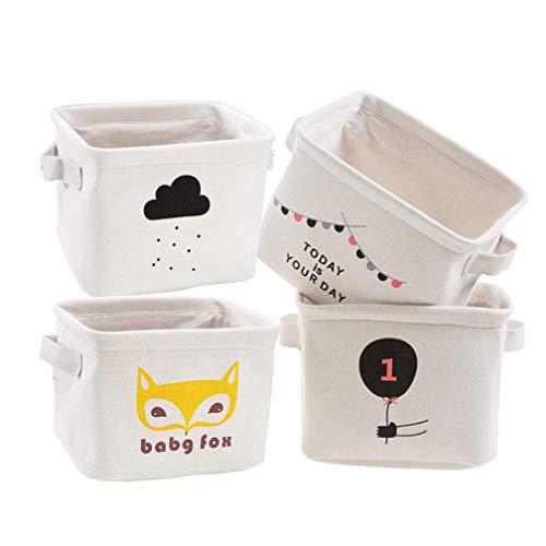 4 Pack Square Linen Storage Bins Decorative Storage Basket Cube Fabric Storage Box Organizer with Cotton Liner for Shelf Kids Toy Nursery