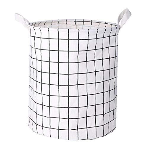 wekold Cotton Linen Storage Bin Folding Laundry Clothes Basket Organizer Shelf Baskets